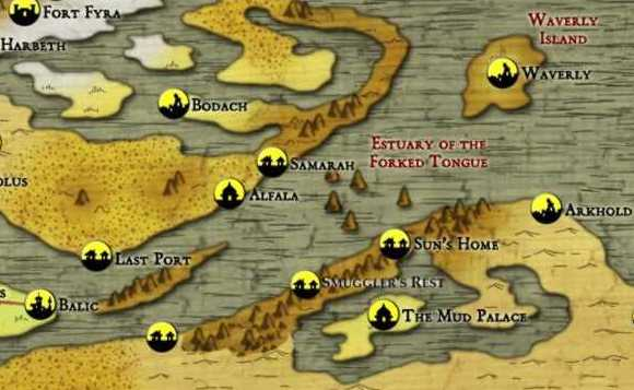 Athas World Map.The Burnt World Of Athas The Southern Coast Of The Estuary Of The