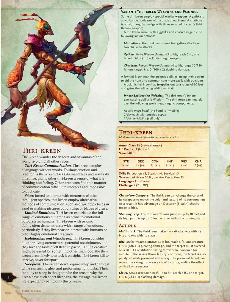 The Burnt World Of Athas Monster Manual Excerpt Thri Kreen